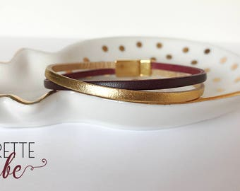 Burgundy leather and gold bracelet with gold clasp
