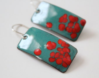 Teal and red rectangle dangle copper enamel metal earring with sterling silver