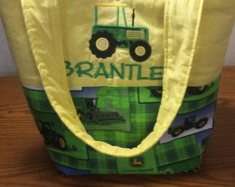Country Farmer Boy Yellow Green Plaid Tractor Combine Farm Equipment Tote Diaper Bag