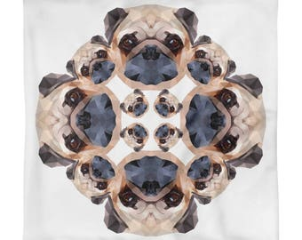 Kaleidoscope Pugs Square Pillow Case only