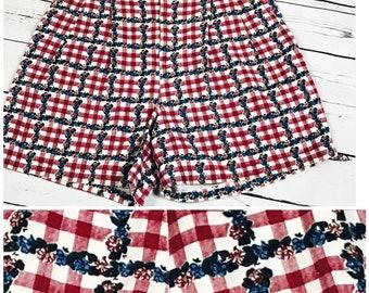 Size 8 high waist gingham shorts - medium retro high waisted shorts - vintage high waist denim shorts - 90's mom jean shorts