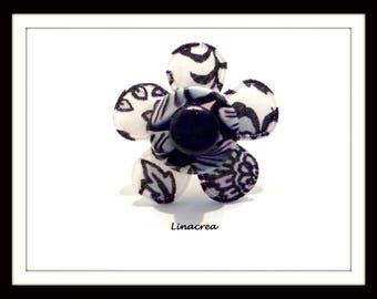 Fabric and polymer clay black and white baroque style adjustable flower ring