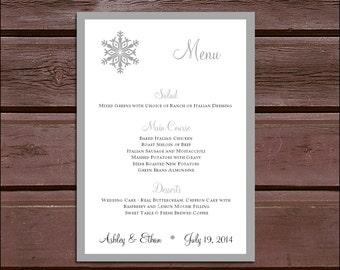 100 Snowflake Wedding Menu Cards - Dinner Menus
