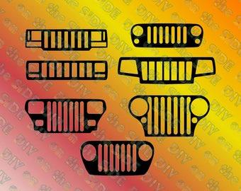 SVG Cut File Jeep Grille XY, XJ, tj, jk, xj, mj, wj, cj, zj Instant Download