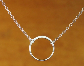 """small ring necklace. hammered circle. sterling silver. simple everyday jewelry. delicate necklace. small round circle 16mm 5/8"""""""