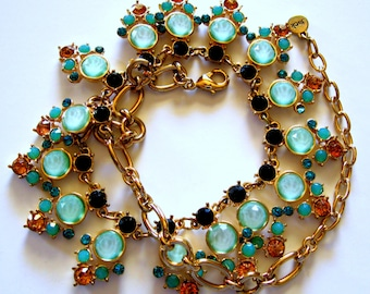 Bella Jack Statement Necklace Teal Amber Sapphire Colored Rhinestones