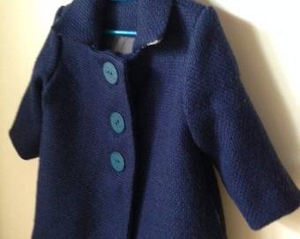 coat style vintage Navy Blue pure linen winter - model single