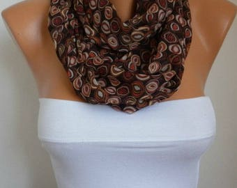 Mother's day gift,Brown Chiffon Infinity Scarf,Clothing Gift,Circle Scarf Loop Scarf  Gift for her women fashion accessories
