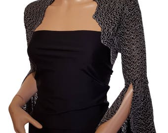 Womens Black and Ivory lace bell sleeve bolero / jacket in Uk size 10 ( last one )