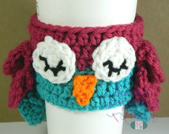 Owl coffee cozy - crochet owl cozy - owl cozy - owl love gift - coffee cozy - owl tea cozy - crochet owl tea cozy - tea cozy - coffee gift