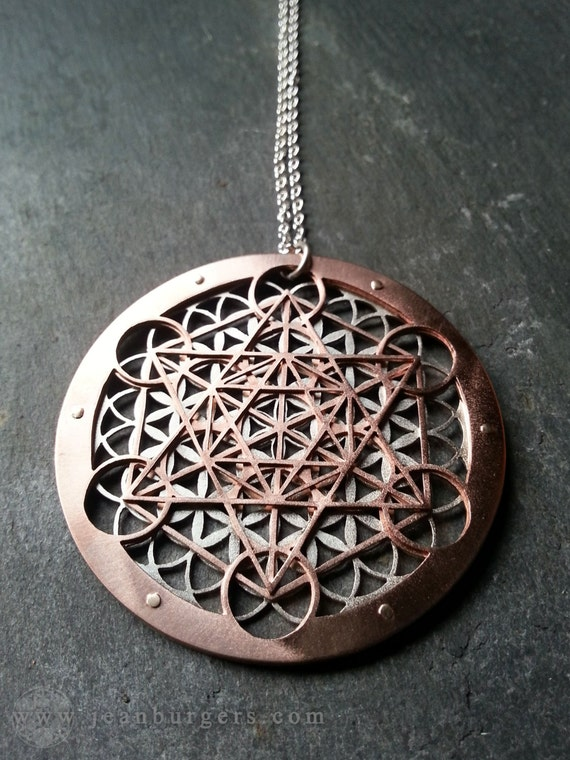 Large metatrons cube and flower of life pendant aloadofball Gallery
