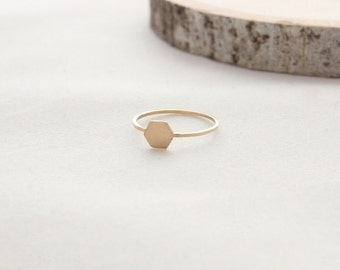 Mini Hexagon Ring // Sterling Silver or 14k Gold Filled