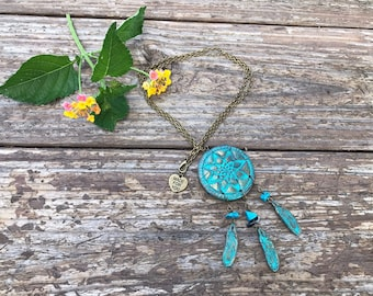 Handmade Boho dream catcher necklace