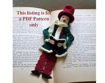 crochet pattern, male victorian caroler bookmark or ornament, crochet instuctions