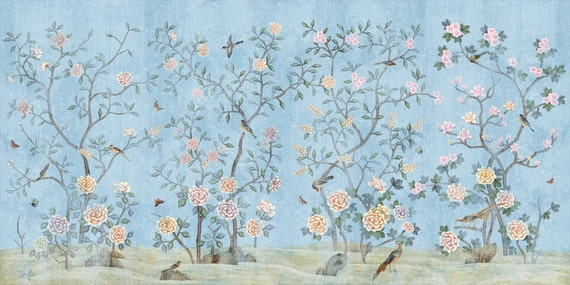 Chinoiserie wallpaper flowering branch exotic birds peony trees wall mural traditional chinese painting vintage light aqua turquoise blue