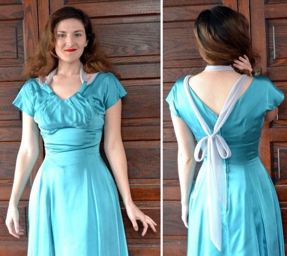 Sea Siren Dress | vintage 50's teal satin cocktail dress crinoline