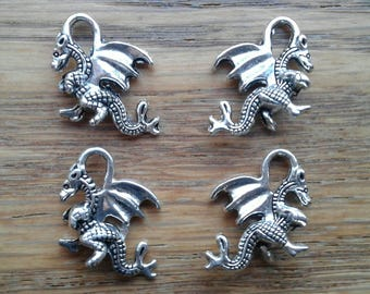 Dragon Charms,  Mythical Creature, Fantasy Animal Fire Breathing, Silver Toned Dragon Pendant / Charms x 4