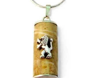 Sterling Silver Natural Jerusalem Stone Judaica Necklace Rectangle Mezuzah Lion Of Judah Men's Pendant