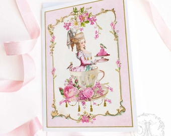 Marie Antoinette card, pink, birthday card, friendship card, all occasion card, blank inside