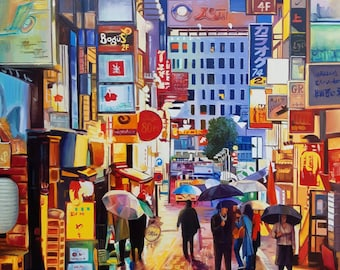 Rain painting , oil painting, modern art, shipping worlwide, cityscape painting , wall art,  Made by Sadia Zaib