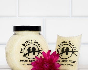 Epsom Bath Salts / Rhubarb & Custard / Bath Salt Gift / Spa Gift Set / Bath Salt Favors / Spa Bath / Epsom Salts / Girl Gift / Colour Change
