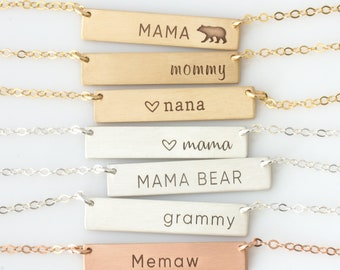 Mother's Day Gift/Custom Necklace For Mom/Mama Bear Necklace/Nana Necklace Gift, Mommy Necklace Gift/Grammy/Memaw/Personalized Bar Necklace