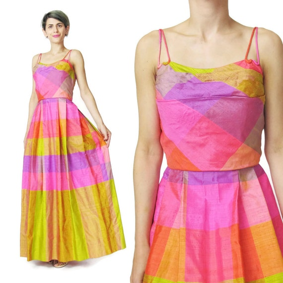 Vintage 1950s Party Dress Pink Plaid 1950s Evening Gown