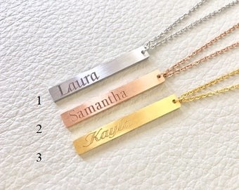 Name Bar Necklace, Vertical personalized necklace, Engraved Jewelry, Gifts for her