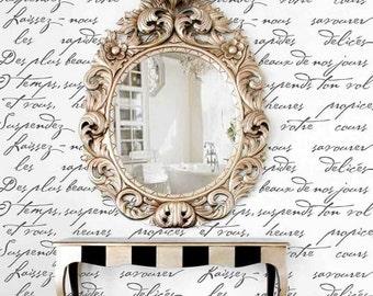 French Poem Allover Stencil Pattern - Typography Wall Stencil - Better Than Wallpaper! - DIY decor stencils