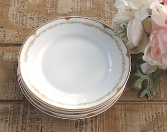 Haviland Limoges Bread and Butter Plates, Set of 4 Antique Dessert Plates, Small Plates, Tea Party, Wedding, Cottage Style