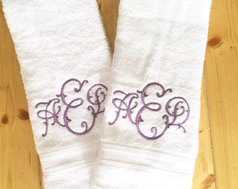 Monogram Terrycloth Hand Towel / Graduation Gift / Wedding Gift / terr cloth towel