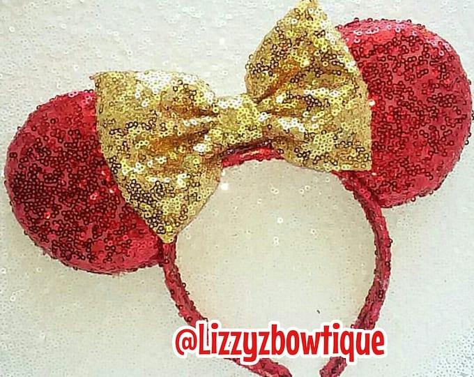 Red Sequin Minnie ears with gold bow or pick any color sequin bow