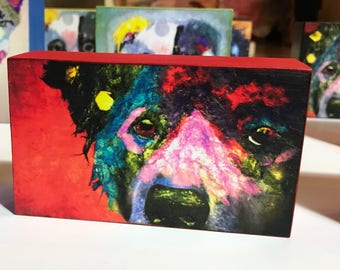 """Pop Art Dog Collectible """"Sophie """" Giclee Mini Block Print 3x5 Torn Paper Art by Robin Panzer Holiday Gift or Stocking Stuffer"""