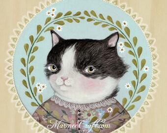 """MarmeeCraft art print, """"A Summerling Cat, Miss Tuxedo"""""""