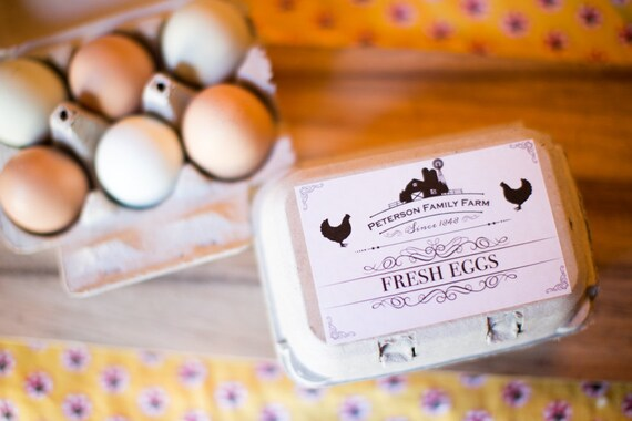 Custom egg carton labels farm and chickens for half for Design your own egg boxes