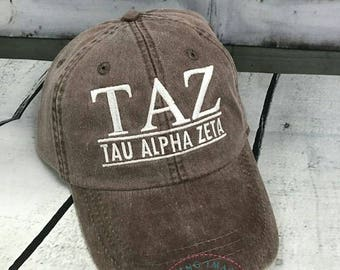Tau Alpha Zeta,  Sorority Hat,   Monogrammed Hat, Fraternity  Hats, Personalized Hat, Custom Hat, Unstructured Hat, Monogram Gift