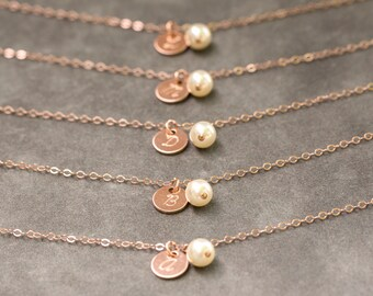 Bridesmaid Rose Gold Bracelet, Pearl & Initial Personalized Bridesmaid Bracelet, Rose Gold Bridesmaid Jewelry Set of 6