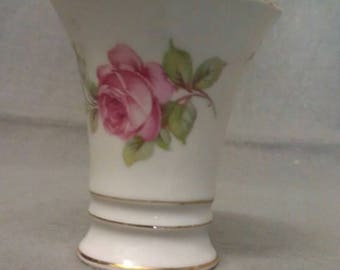 Schumann Bavaria Germany with Pink Roses Cup-Holder-Cup Vase