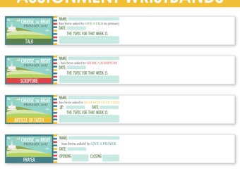 2017 LDS Primary Sharing Time Assignment Wristbands - Choose the Right - MB