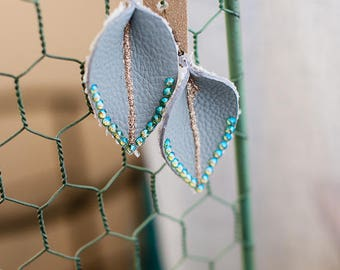Lilly leather earrings, with Swarovski  crystals