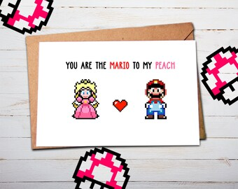 Anniversary Card for Boyfriend, Geeky Anniversary, Super Mario, Peach, for Husband, for Men, Anniversary Card for Him, Nintendo Gifts, N64