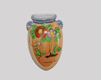 "Vintage Wall Pocket 5"" Vase Hand Painted Lusterware w/ Floral Design - Made in Japan"