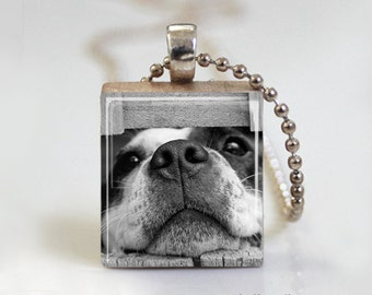 Puppy Dog Pendant - Scrabble Tile Pendant - Free Ball Chain Necklace or Key Ring
