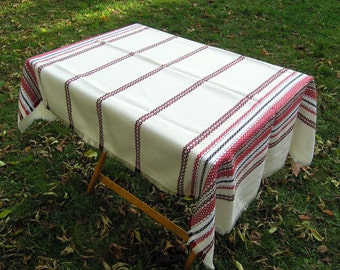 Vintage Woven Tablecloth, Retro 1970s Knit Tablecloth or Picnic Blanket, Mid Century Red Black Stripes on Off White Tablecloth or Blanket