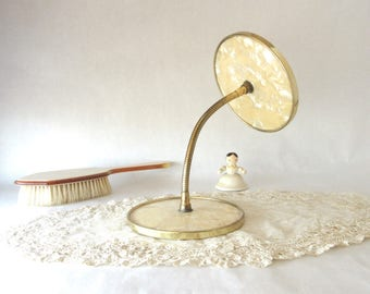 Vintage Mirror / Grooming / Double Shaving Mirror / Magnifier / Flexible Coil / Mother of Pearl / Celluloid / Gold