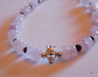 Morganite, Black Spinel and 925 sterling silver bracelet with sterling silver skull with crown.
