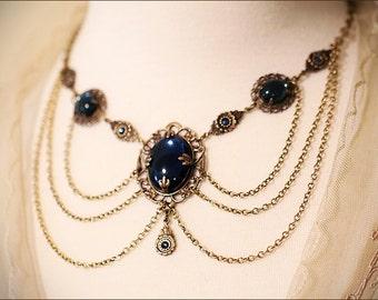 Renaissance Necklace, Medieval Jewelry, SCA, Tudor, Victorian Antiqued Silver Filigree Festoon, Drucilla