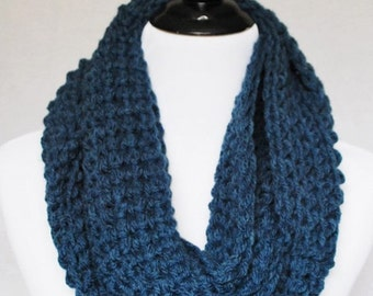 Blue Crochet Scarf, Chunky Infinity Scarf, Navy Blue Cowl, Blue Neck Warmer - Denim Blue