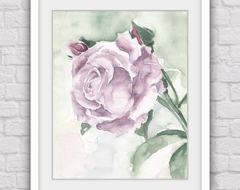 Purple rose prints, Rose art print, Flower prints, Flower art, Digital prints, Lilac roses, Printable painting, Flower wall art
