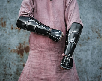 Blackened Steel Rogue Warrior Bracers - Special Wrist Protection - Pair of Arm Protection - LARP Armor